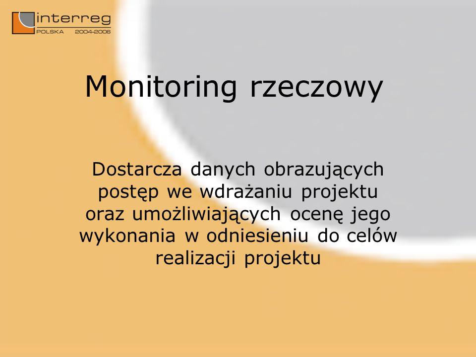 Monitoring rzeczowy Dostarcza danych obrazujących postęp we wdrażaniu projektu oraz umożliwiających ocenę jego wykonania w odniesieniu do celów realizacji projektu
