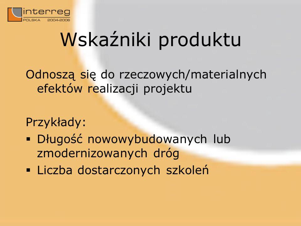 Wskaźniki produktu Odnoszą się do rzeczowych/materialnych efektów realizacji projektu Przykłady: Długość nowowybudowanych lub zmodernizowanych dróg Li