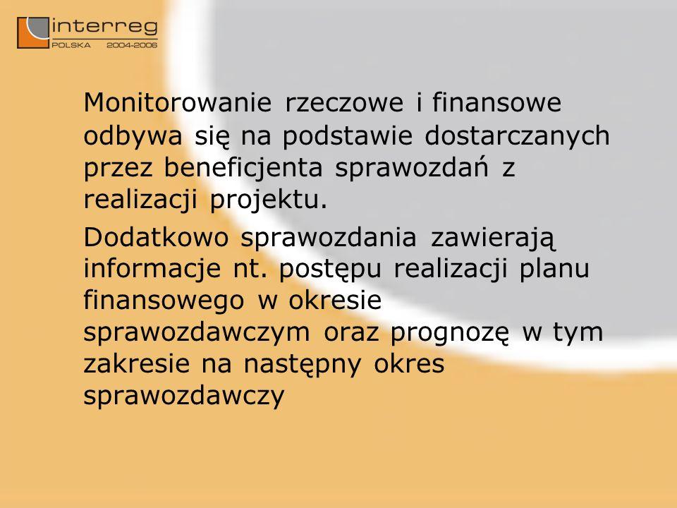Monitorowanie rzeczowe i finansowe odbywa się na podstawie dostarczanych przez beneficjenta sprawozdań z realizacji projektu.