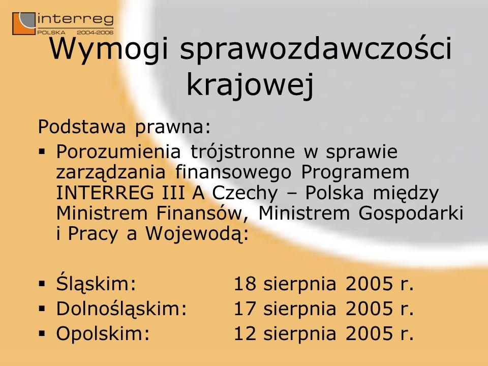 Wymogi sprawozdawczości krajowej Podstawa prawna: Porozumienia trójstronne w sprawie zarządzania finansowego Programem INTERREG III A Czechy – Polska między Ministrem Finansów, Ministrem Gospodarki i Pracy a Wojewodą: Śląskim:18 sierpnia 2005 r.