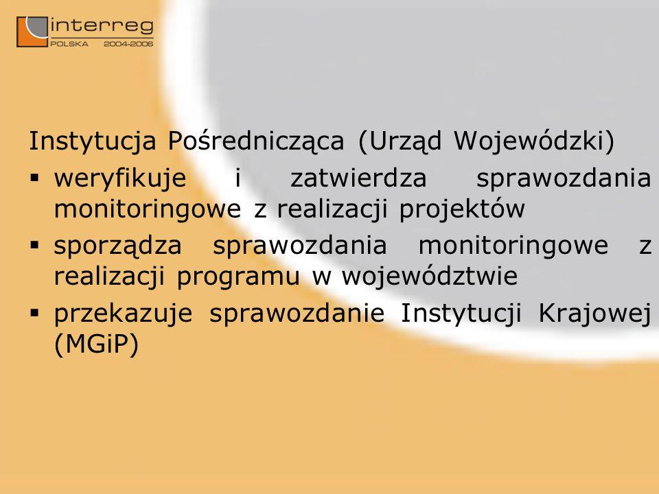Instytucja Pośrednicząca (Urząd Wojewódzki) weryfikuje i zatwierdza sprawozdania monitoringowe z realizacji projektów sporządza sprawozdania monitoringowe z realizacji programu w województwie przekazuje sprawozdanie Instytucji Krajowej (MGiP)