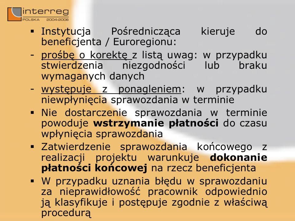 Instytucja Pośrednicząca kieruje do beneficjenta / Euroregionu: -prośbę o korektę z listą uwag: w przypadku stwierdzenia niezgodności lub braku wymaganych danych -występuje z ponagleniem: w przypadku niewpłynięcia sprawozdania w terminie Nie dostarczenie sprawozdania w terminie powoduje wstrzymanie płatności do czasu wpłynięcia sprawozdania Zatwierdzenie sprawozdania końcowego z realizacji projektu warunkuje dokonanie płatności końcowej na rzecz beneficjenta W przypadku uznania błędu w sprawozdaniu za nieprawidłowość pracownik odpowiednio ją klasyfikuje i postępuje zgodnie z właściwą procedurą