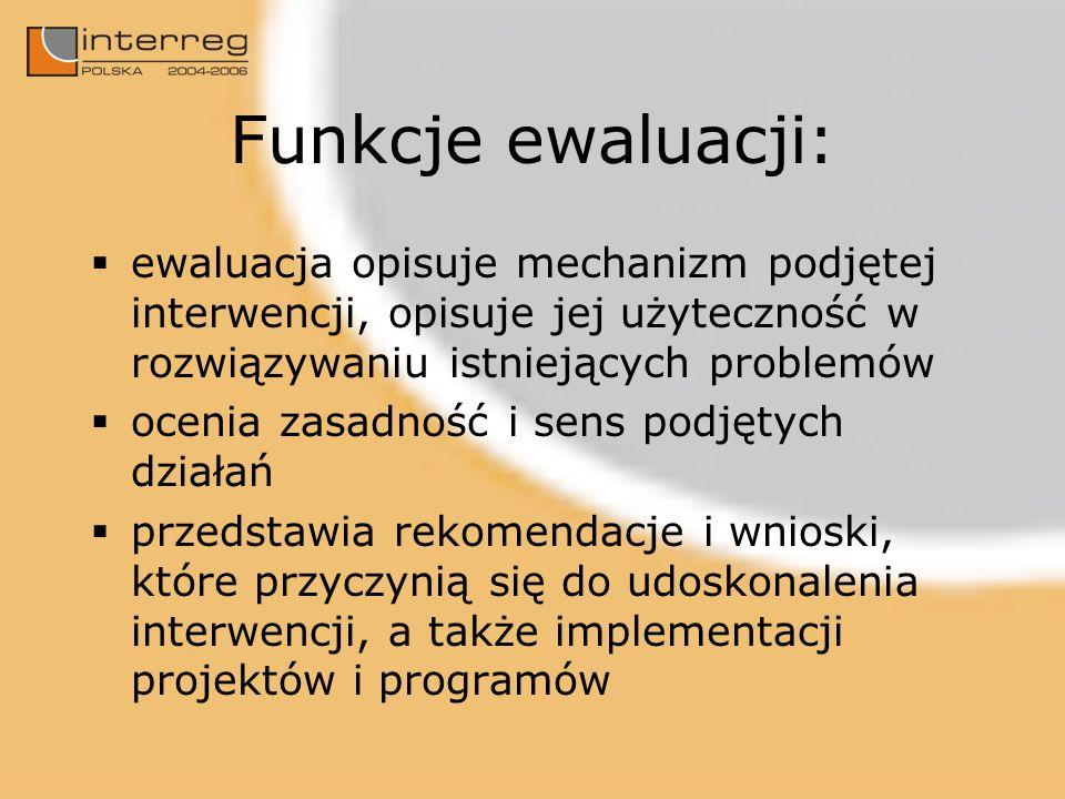 Funkcje ewaluacji: ewaluacja opisuje mechanizm podjętej interwencji, opisuje jej użyteczność w rozwiązywaniu istniejących problemów ocenia zasadność i sens podjętych działań przedstawia rekomendacje i wnioski, które przyczynią się do udoskonalenia interwencji, a także implementacji projektów i programów