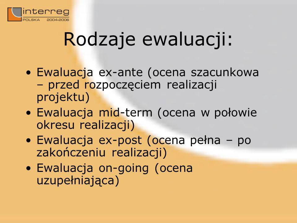 Rodzaje ewaluacji: Ewaluacja ex-ante (ocena szacunkowa – przed rozpoczęciem realizacji projektu) Ewaluacja mid-term (ocena w połowie okresu realizacji) Ewaluacja ex-post (ocena pełna – po zakończeniu realizacji) Ewaluacja on-going (ocena uzupełniająca)