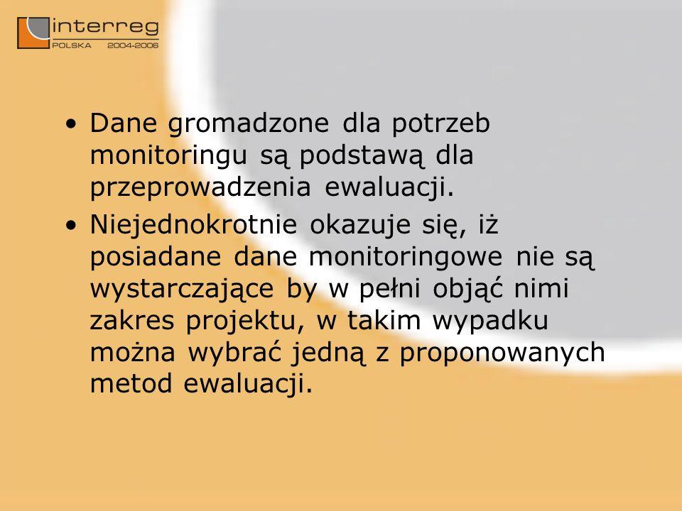 Dane gromadzone dla potrzeb monitoringu są podstawą dla przeprowadzenia ewaluacji.