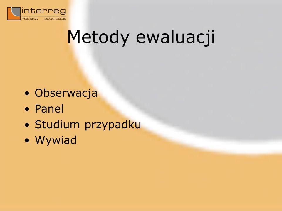 Metody ewaluacji Obserwacja Panel Studium przypadku Wywiad