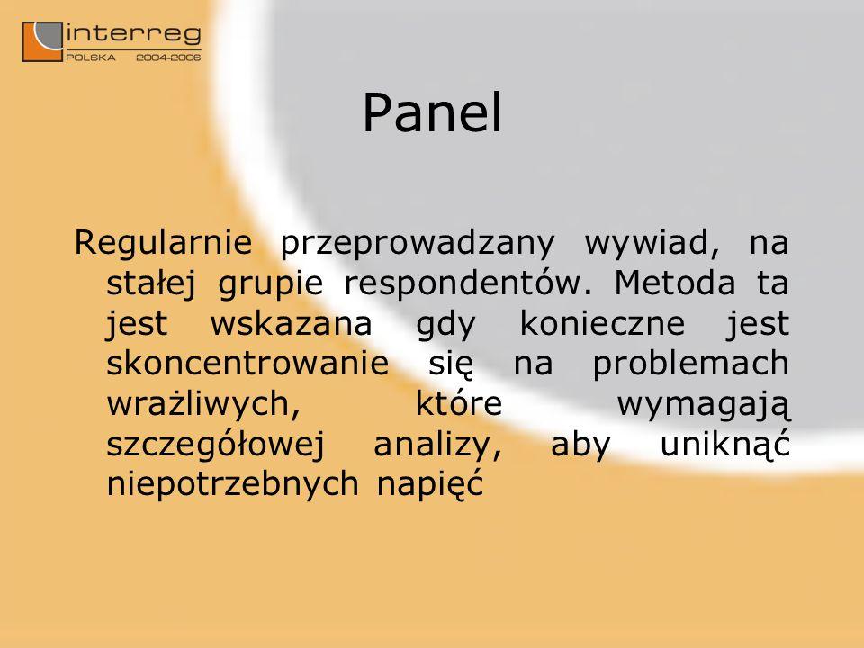 Panel Regularnie przeprowadzany wywiad, na stałej grupie respondentów. Metoda ta jest wskazana gdy konieczne jest skoncentrowanie się na problemach wr