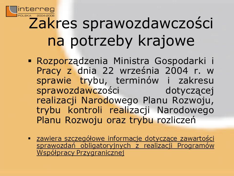 Zakres sprawozdawczości na potrzeby krajowe Rozporządzenia Ministra Gospodarki i Pracy z dnia 22 września 2004 r. w sprawie trybu, terminów i zakresu