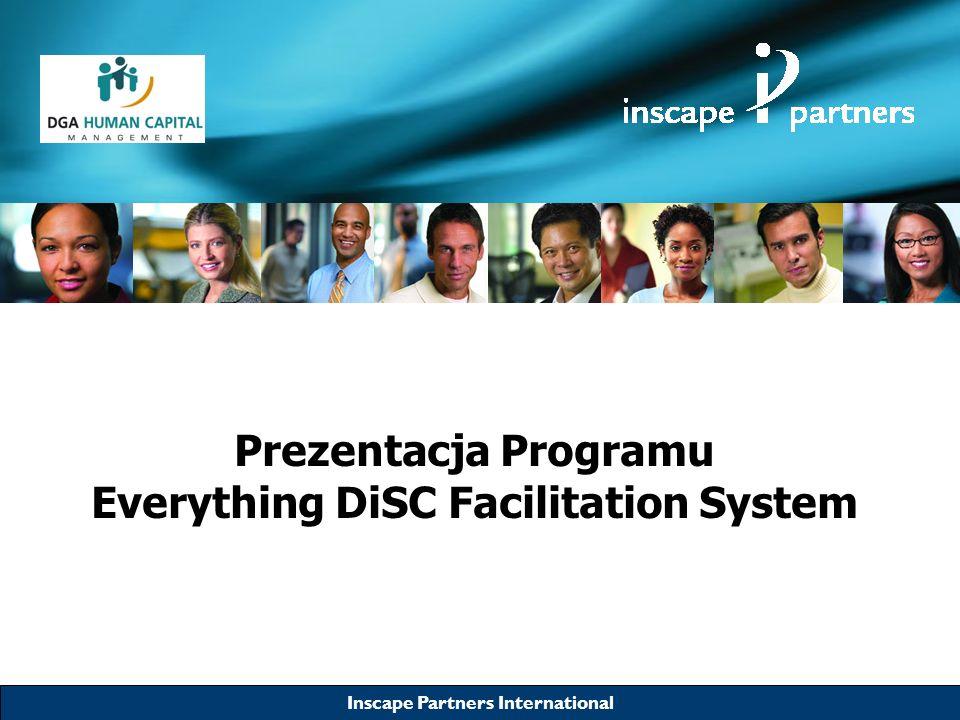Inscape Partners International Narzędzie Everything DiSC ® Facilitation System Zakres tematyczny Zarządzanie sprzedażą: –Budowanie relacji sprzedażowych –Adaptacja do stylów zachowań swoich Klientów