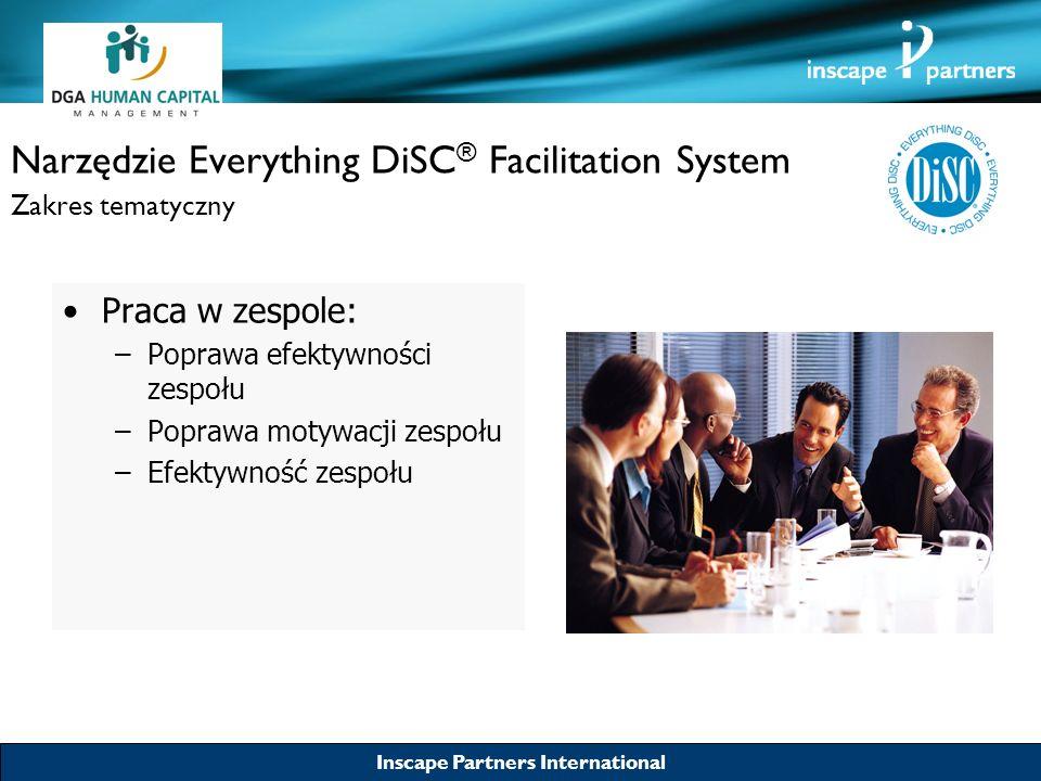 Inscape Partners International Narzędzie Everything DiSC ® Facilitation System Zakres tematyczny Praca w zespole: –Poprawa efektywności zespołu –Popra