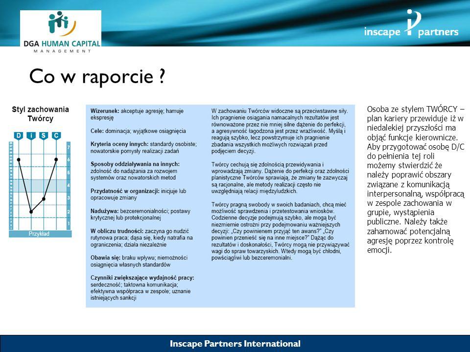 Inscape Partners International Co w raporcie ? Osoba ze stylem TWÓRCY – plan kariery przewiduje iż w niedalekiej przyszłości ma objąć funkcje kierowni