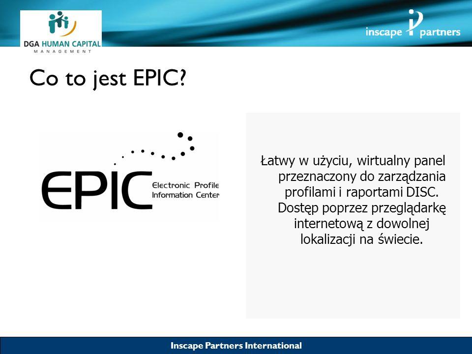 Inscape Partners International Co to jest EPIC? Łatwy w użyciu, wirtualny panel przeznaczony do zarządzania profilami i raportami DISC. Dostęp poprzez