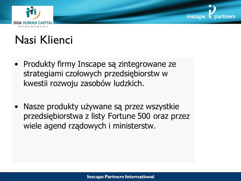 Inscape Partners International Nasi Klienci Produkty firmy Inscape są zintegrowane ze strategiami czołowych przedsiębiorstw w kwestii rozwoju zasobów