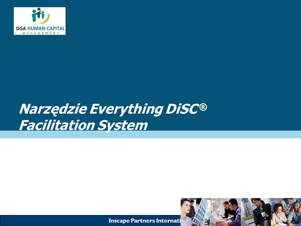 Inscape Partners International Narzędzie Everything DiSC ® Facilitation System Wszystko czego potrzebujesz aby odnieść sukces z DiSC Prosty w użyciu Obszerny podręcznik użytkownika Materiały szkoleniowe na CD –Prezentacje PowerPoint –Wydruki dla uczestników –Indywidualne skrypty –Przykładowe raporty Indywidualne moduły szkoleniowe Przykładowe scenki do ćwiczeń Karty do gry QuikDiSC DVD Video