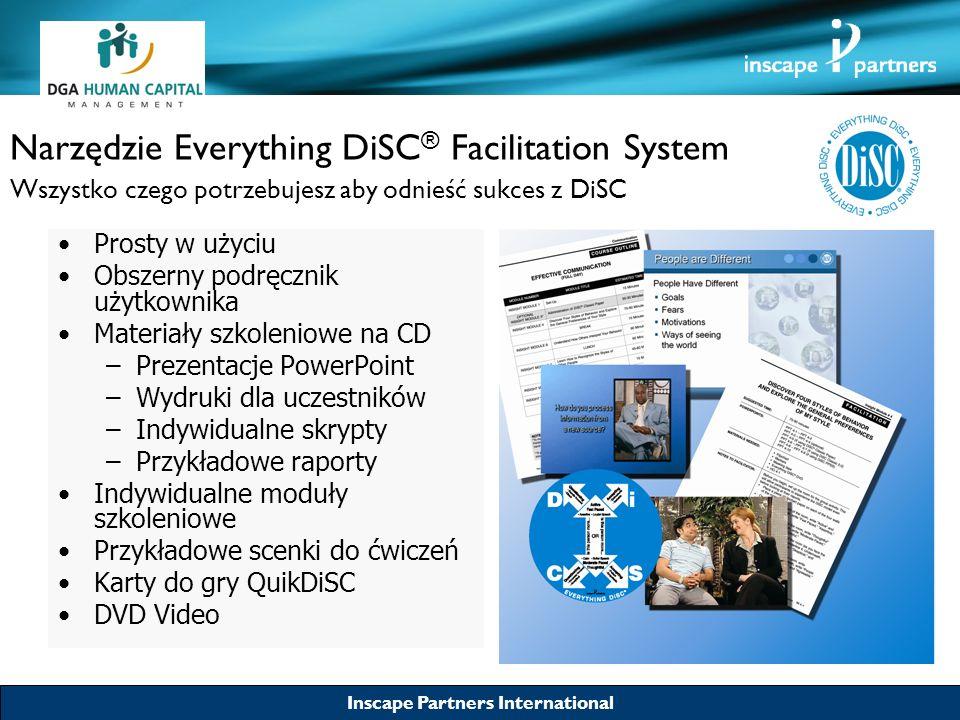 Inscape Partners International Narzędzie Everything DiSC ® Facilitation System Wszystko czego potrzebujesz aby odnieść sukces z DiSC Zapewnia skuteczne szkolenie uczestnikom Zwiększa skuteczność wykorzystania raportów DiSC Umożliwia opracowanie indywidualnych i grupowych programów szkoleniowych Najwyższa jakość merytoryczna