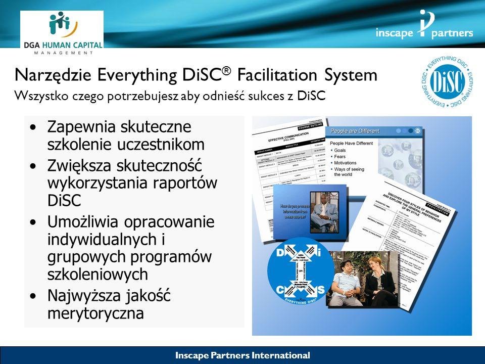Inscape Partners International Narzędzie Everything DiSC ® Facilitation System Zakres tematyczny Style komunikacji: –Poprawa stylów komunikacji –Adaptacja do różnych stylów komunikacji –Efektywność komunikacji