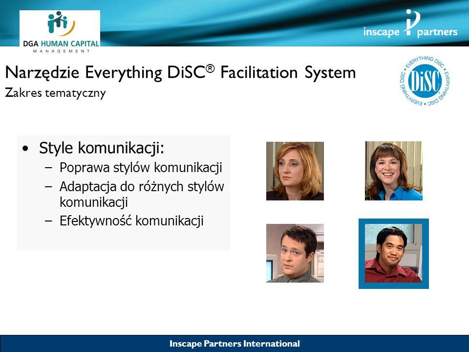 Inscape Partners International Narzędzie Everything DiSC ® Facilitation System Zakres tematyczny Style komunikacji: –Poprawa stylów komunikacji –Adapt