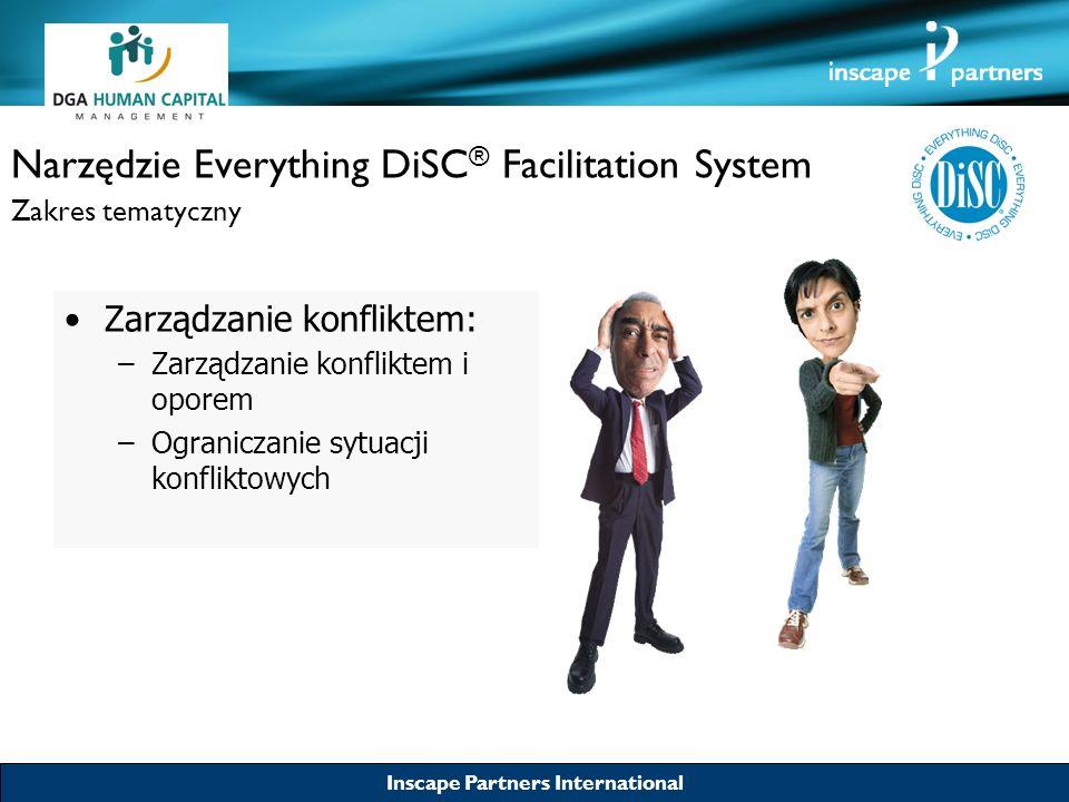 Inscape Partners International Narzędzie Everything DiSC ® Facilitation System Zakres tematyczny Relacje interpersonalne: –Wykorzystywanie własnych zalet do budowania korzystniejszej pozycji w organizacji –Budowanie większej samoświadomości