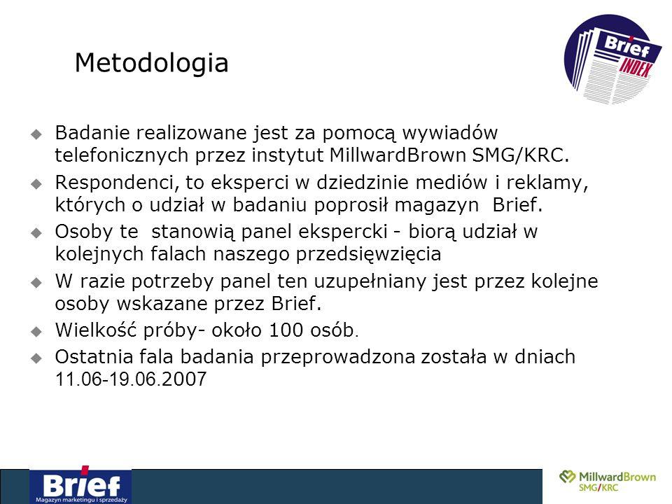 Metodologia u Badanie realizowane jest za pomocą wywiadów telefonicznych przez instytut MillwardBrown SMG/KRC.