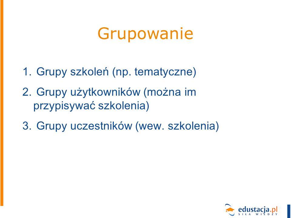 Grupowanie 1. Grupy szkoleń (np. tematyczne) 2. Grupy użytkowników (można im przypisywać szkolenia) 3. Grupy uczestników (wew. szkolenia)