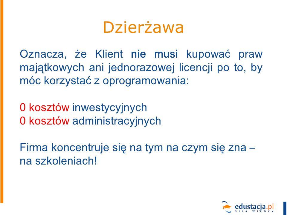 Dzierżawa Oznacza, że Klient nie musi kupować praw majątkowych ani jednorazowej licencji po to, by móc korzystać z oprogramowania: 0 kosztów inwestycy