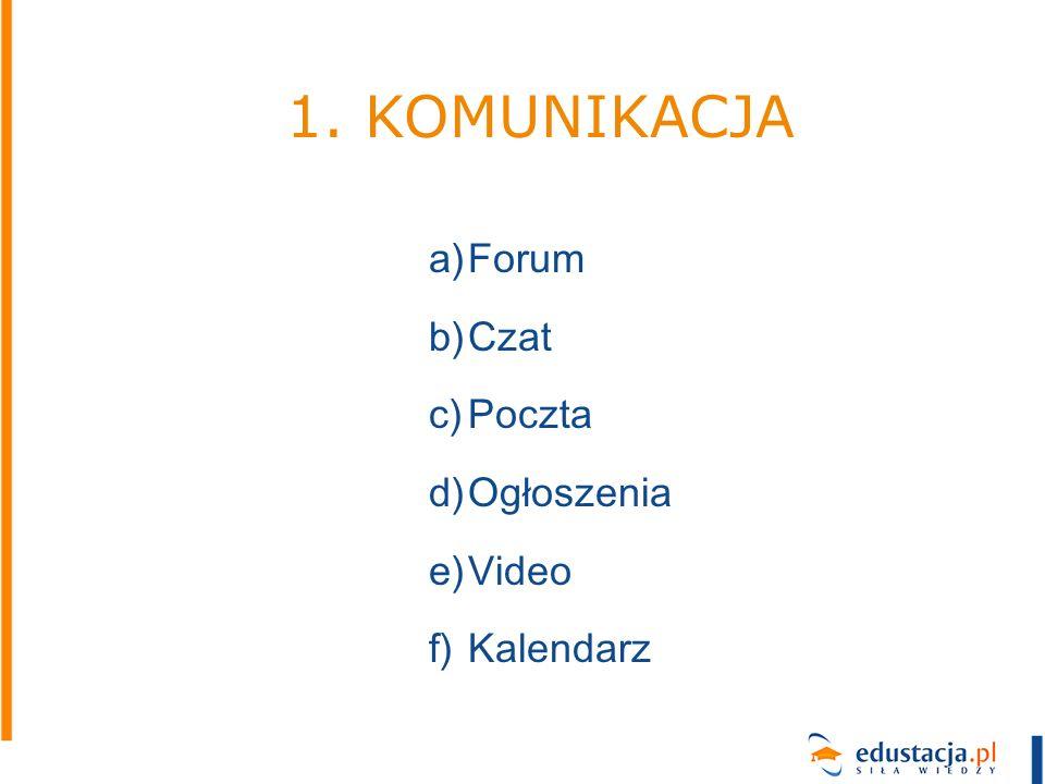 a)Forum b)Czat c)Poczta d)Ogłoszenia e)Video f)Kalendarz 1. KOMUNIKACJA