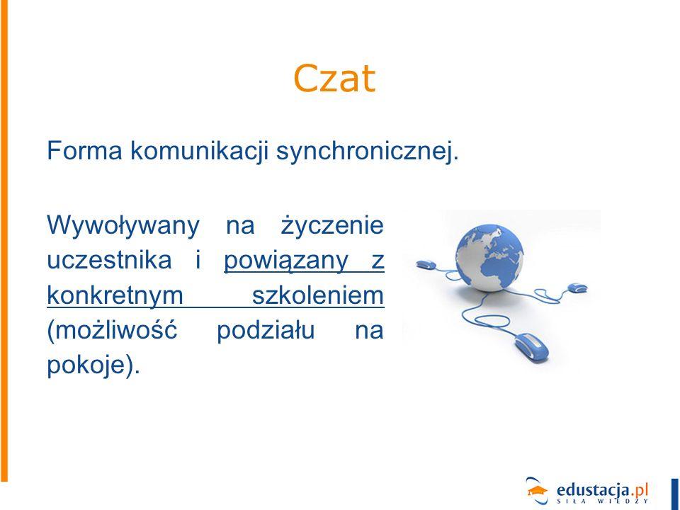Czat Wywoływany na życzenie uczestnika i powiązany z konkretnym szkoleniem (możliwość podziału na pokoje). Forma komunikacji synchronicznej.
