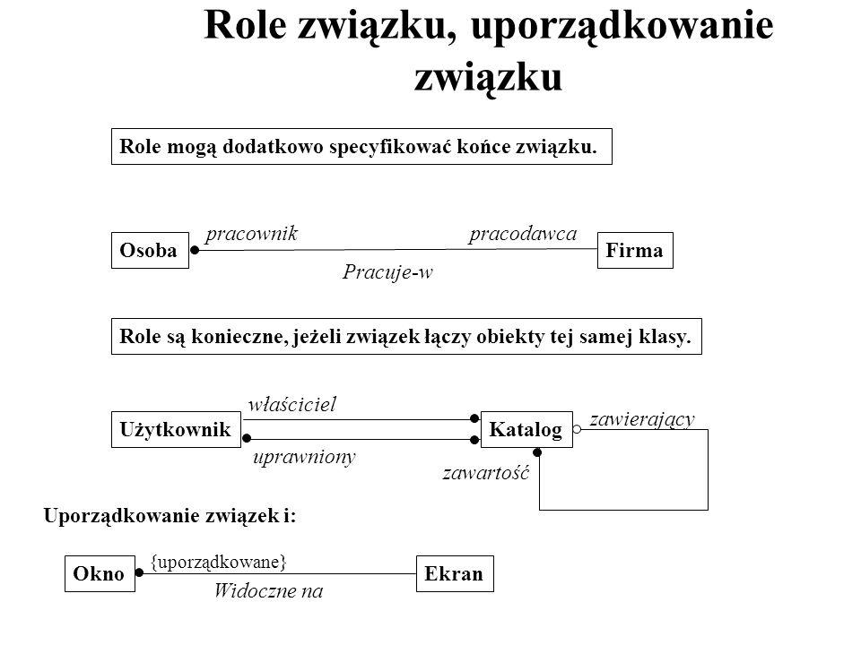 Role związku, uporządkowanie związku Role mogą dodatkowo specyfikować końce związku. FirmaOsoba Pracuje-w pracownikpracodawca Role są konieczne, jeżel