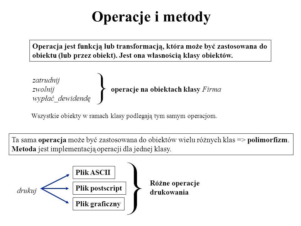 Operacje i metody Operacja jest funkcją lub transformacją, która może być zastosowana do obiektu (lub przez obiekt). Jest ona własnością klasy obiektó