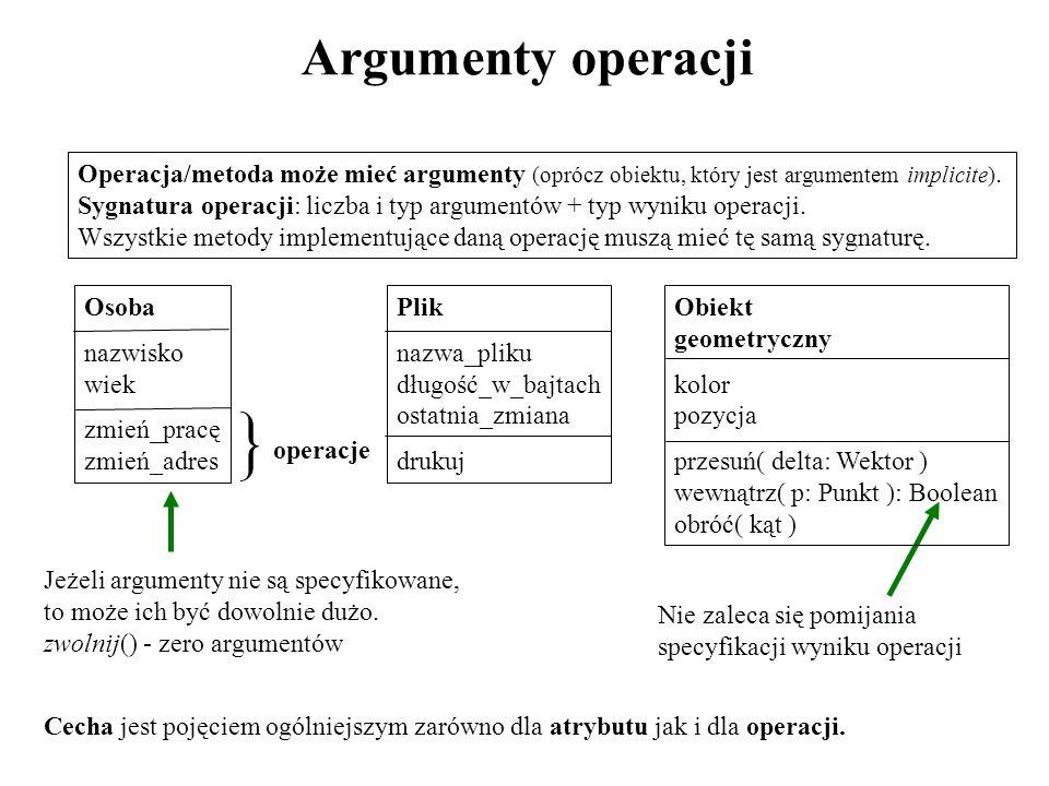 Argumenty operacji Operacja/metoda może mieć argumenty (oprócz obiektu, który jest argumentem implicite). Sygnatura operacji: liczba i typ argumentów