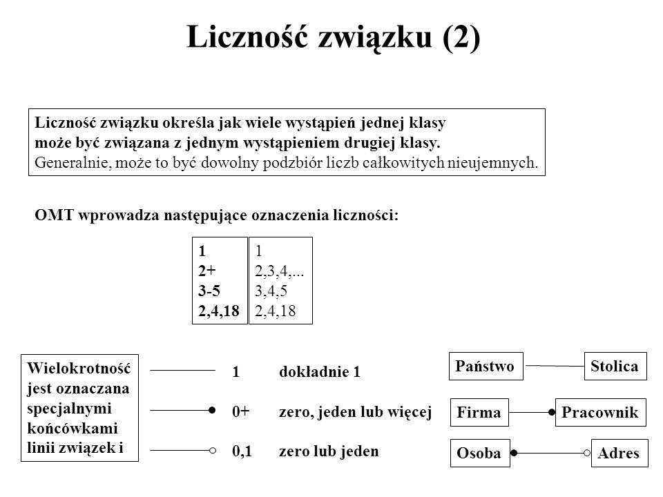 Liczność związku (2) Liczność związku określa jak wiele wystąpień jednej klasy może być związana z jednym wystąpieniem drugiej klasy. Generalnie, może