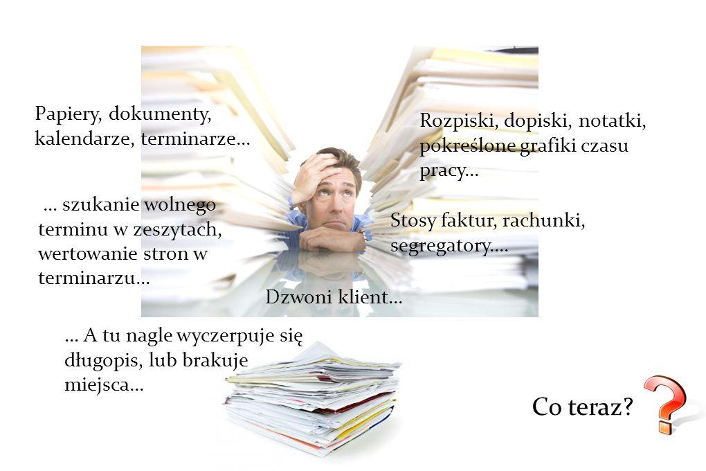 Papiery, dokumenty, kalendarze, terminarze... Stosy faktur, rachunki, segregatory.... Rozpiski, dopiski, notatki, pokreślone grafiki czasu pracy... …