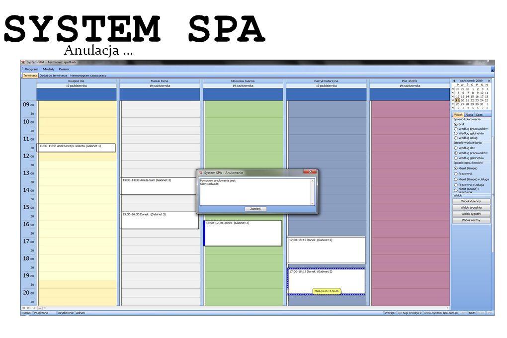 System SPA Anulacja … SYSTEM SPA