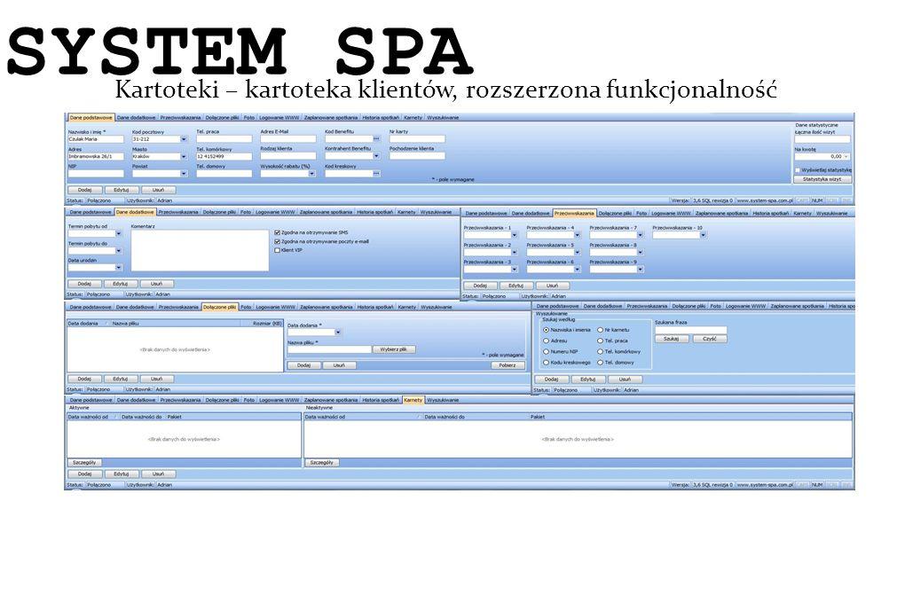 System SPA Kartoteki – kartoteka klientów, rozszerzona funkcjonalność SYSTEM SPA