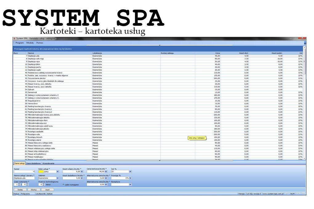 System SPA Kartoteki – kartoteka usług SYSTEM SPA