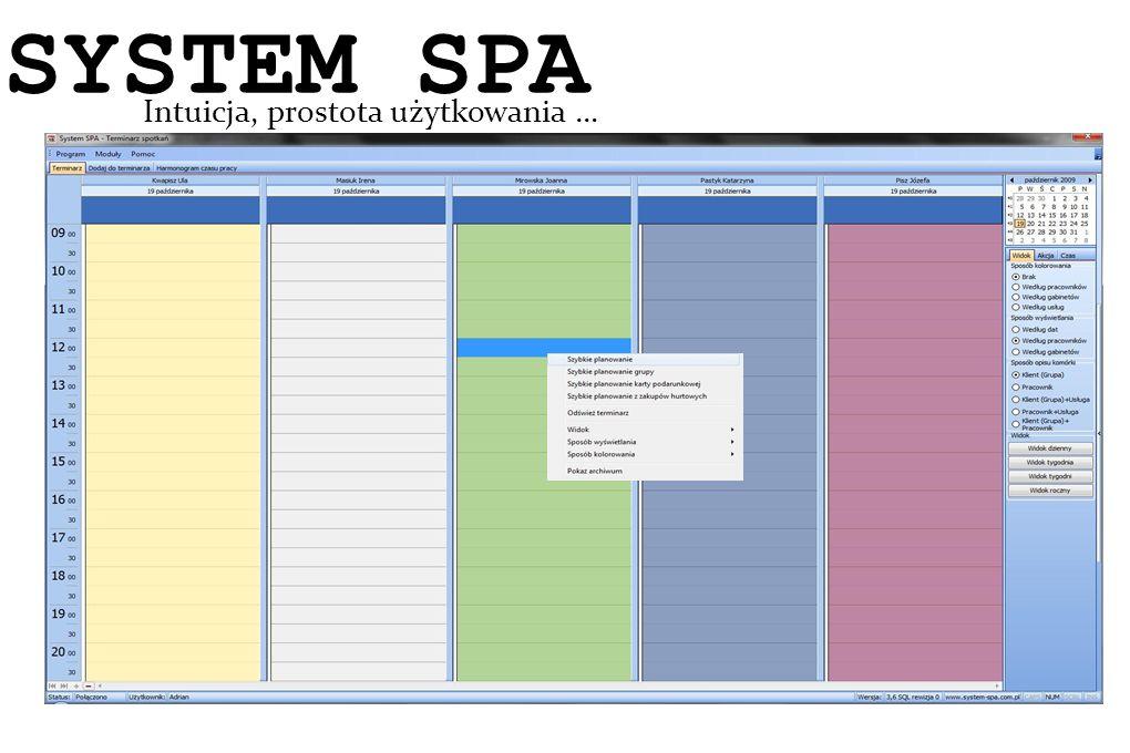 System SPA Intuicja, prostota użytkowania … SYSTEM SPA