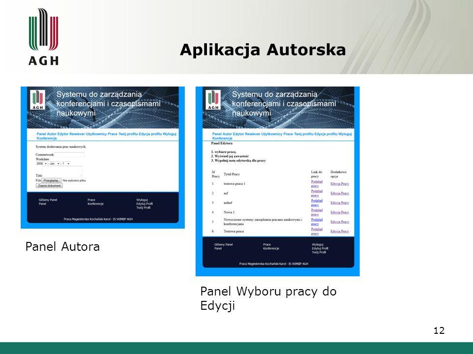 Aplikacja Autorska 12 Panel Autora Panel Wyboru pracy do Edycji