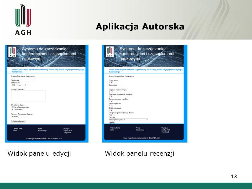 Aplikacja Autorska 13 Widok panelu edycjiWidok panelu recenzji