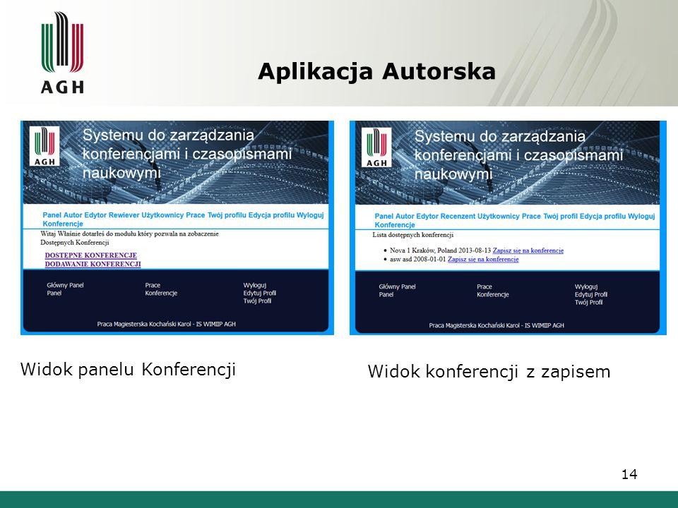 Aplikacja Autorska 14 Widok panelu Konferencji Widok konferencji z zapisem