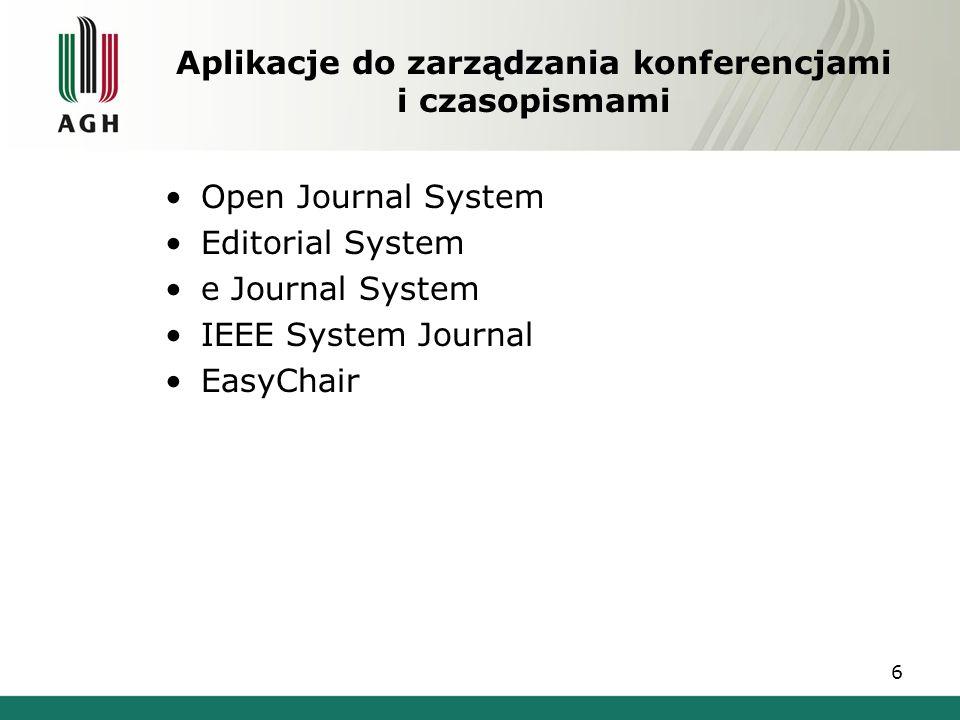 Aplikacje do zarządzania konferencjami i czasopismami Open Journal System Editorial System e Journal System IEEE System Journal EasyChair 6