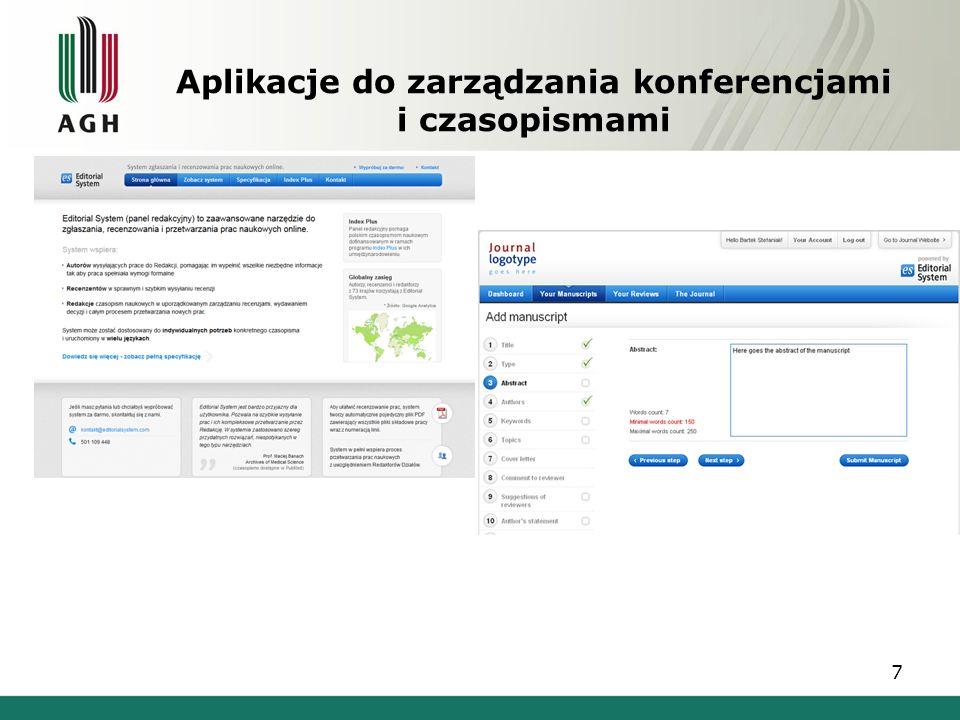 Aplikacje do zarządzania konferencjami i czasopismami 7