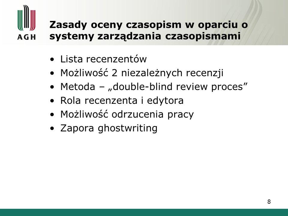 Zasady oceny czasopism w oparciu o systemy zarządzania czasopismami Lista recenzentów Możliwość 2 niezależnych recenzji Metoda – double-blind review p