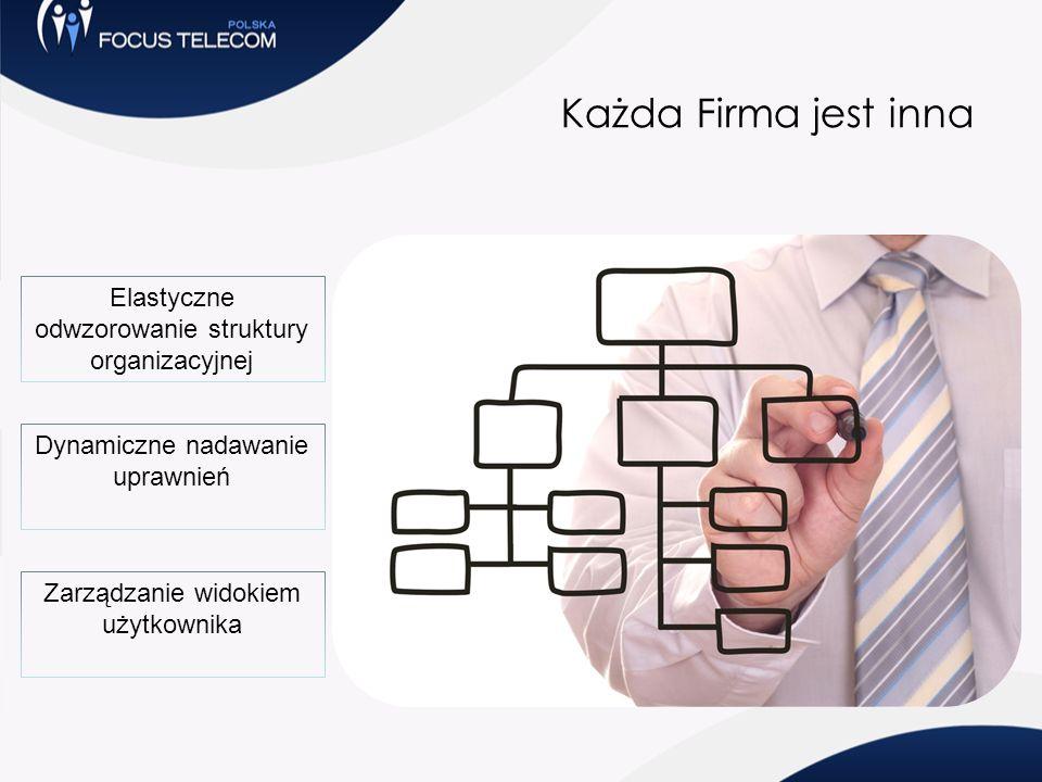 Każda Firma jest inna Elastyczne odwzorowanie struktury organizacyjnej Dynamiczne nadawanie uprawnień Zarządzanie widokiem użytkownika