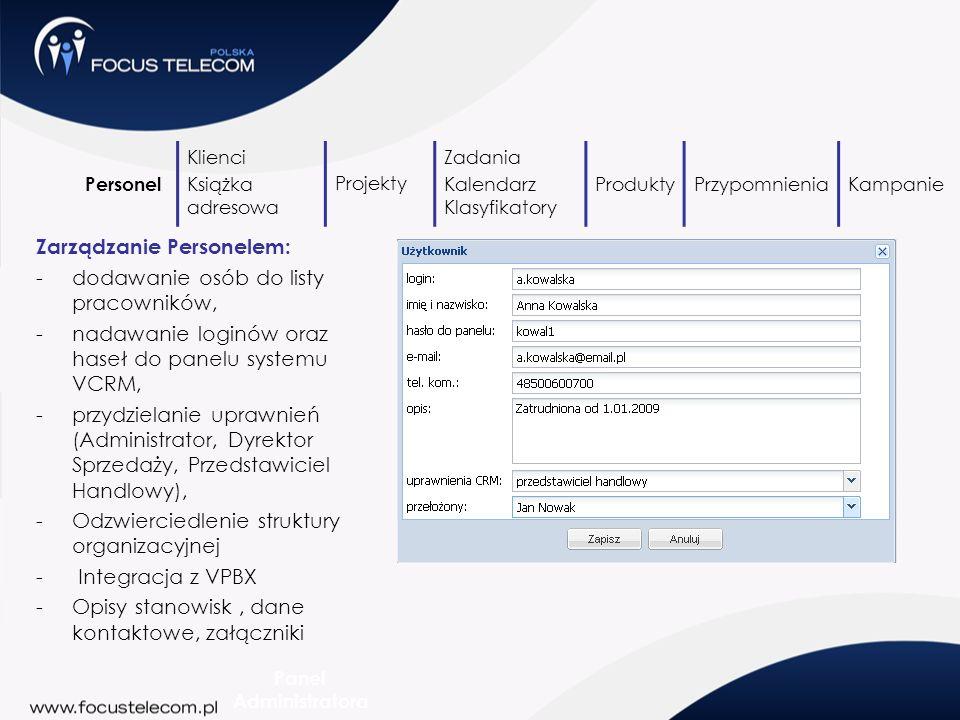 Zarządzanie Personelem: -dodawanie osób do listy pracowników, -nadawanie loginów oraz haseł do panelu systemu VCRM, -przydzielanie uprawnień (Administ