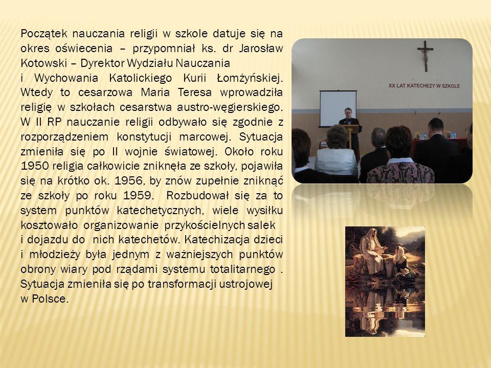 Początek nauczania religii w szkole datuje się na okres oświecenia – przypomniał ks. dr Jarosław Kotowski – Dyrektor Wydziału Nauczania i Wychowania K