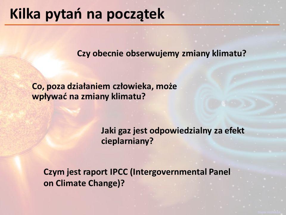 KLIMAT: - średnia pogoda – wyznaczana dla pewnych szerokich przedziałów czasu (zwykle 30 lat) - wszystkie stany atmosfery (dla pewnego obszaru) występujące w przebiegu rocznym To pozwala odpowiedzieć na pytania w rodzaju: jaka będzie średnia temperatura czerwca we Wrocławiu w roku 2012… Definicje ANOMALIA: - odchylenie danego parametru od wartości średniej obserwowane przez odpowiednio długi okres czasu (30 lat) - jedno chłodne lato lub ciepła zima nie świadczą o zmianach klimatu SPRZĘŻENIE ZWROTNE: - procesy zwiększające (dodatnie) lub zmniejszające (ujemne) zaburzenie układu klimatycznego