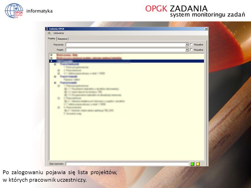 System monitoringu prac Po zalogowaniu pojawia się lista projektów, w których pracownik uczestniczy.