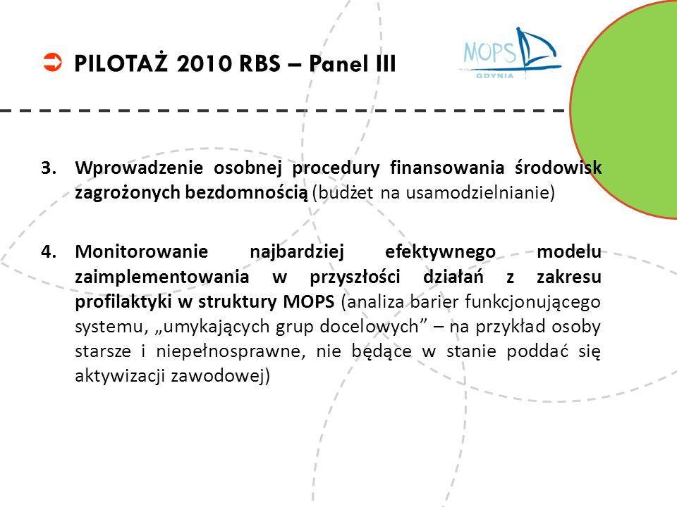 3.Wprowadzenie osobnej procedury finansowania środowisk zagrożonych bezdomnością (budżet na usamodzielnianie) 4.Monitorowanie najbardziej efektywnego