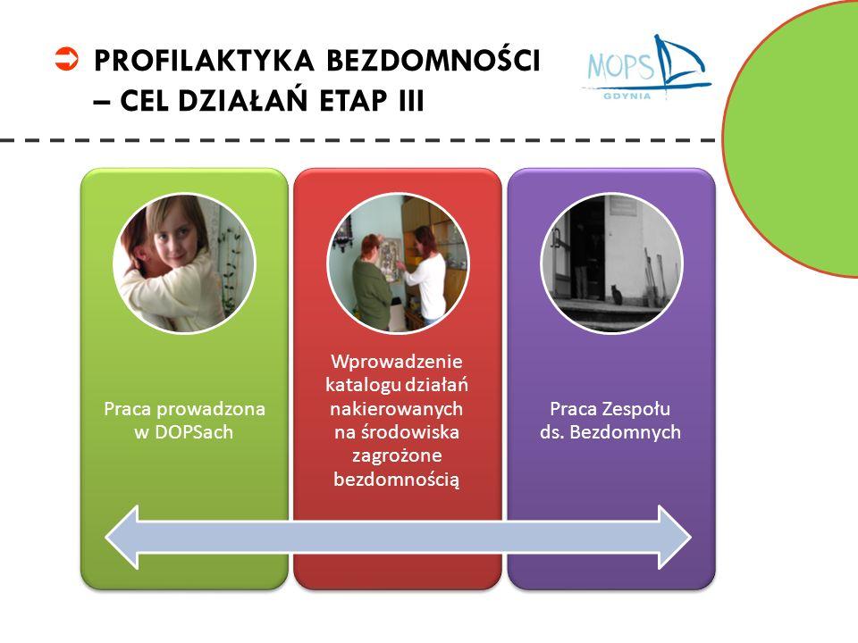 PROFILAKTYKA BEZDOMNOŚCI – CEL DZIAŁAŃ ETAP III Praca prowadzona w DOPSach Wprowadzenie katalogu działań nakierowanych na środowiska zagrożone bezdomn