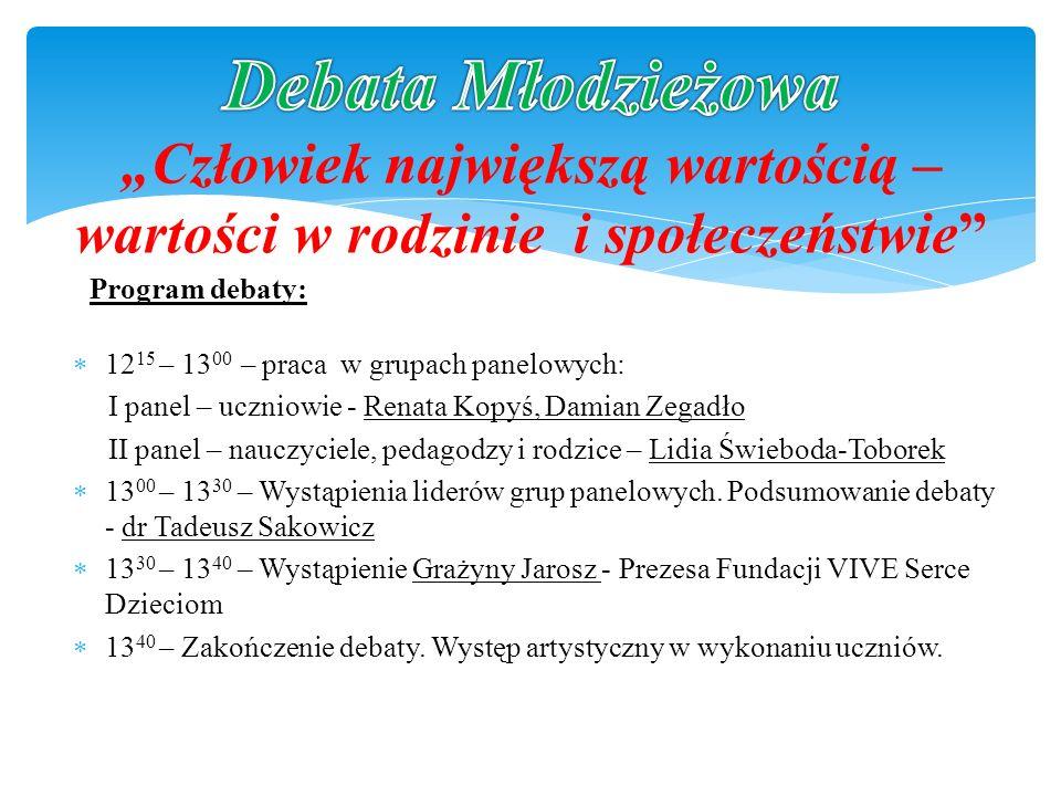 12 15 – 13 00 – praca w grupach panelowych: I panel – uczniowie - Renata Kopyś, Damian Zegadło II panel – nauczyciele, pedagodzy i rodzice – Lidia Świ